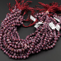 "Natural Rough Ruby Nugget Raw Ruby Beads Organic Genuine Ruby Gemstone Rounded Nugget 17"" Strand"