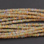 "16 Inches Ethiopian Opal Beads Rondelle 3mm AAA Super Flashy Fiery Rainbow Yellow Opal Smooth Roundel Beads 16"" Strand A1"