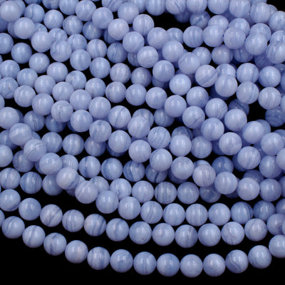 "AAA Natural Blue Lace Agate Beads 6mm 8mm 10mm Round Beads 16"" Strand"