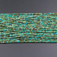 "Natural Turquoise 3mm 4mm Faceted Round BeadsReal Genuine Natural Blue Green Turquoise Micro Faceted Cut 16"" Strand"