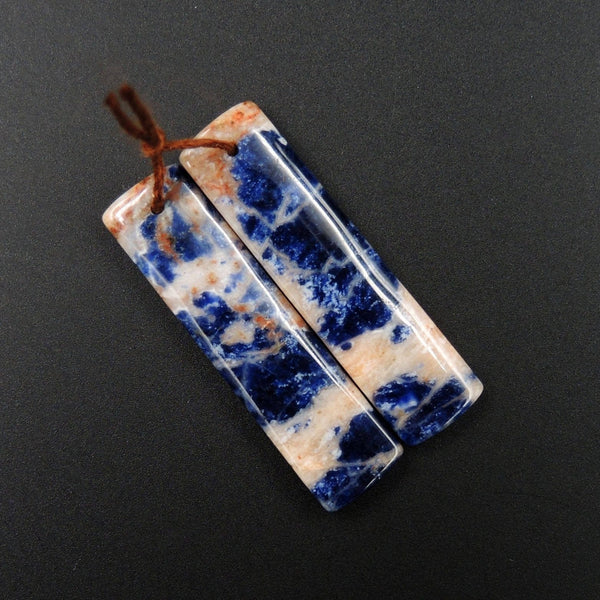 Natural African Orange Sodalite Rectangle Cabochon Cab Pair Drilled Matched Earrings Bead Pair Natural Stone E2288
