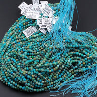 "Natural Turquoise 2.5mm Faceted Round Beads Real Genuine Natural Blue Green Turquoise Gemstone Micro Faceted Diamond Cut 16"" Strand"