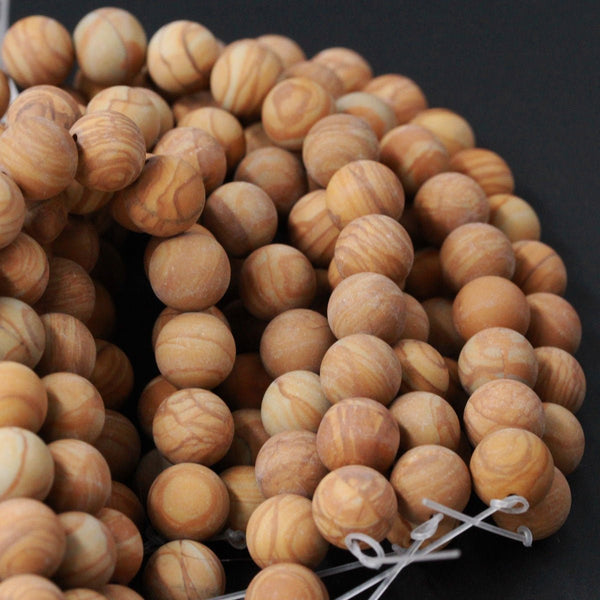 "Natural Wooden Jasper Matte 6mm 8mm 10mm Round Beads Yellow Brown Earthy Natural Picture Landscape Brown Jasper 16"" Strand"