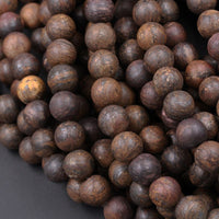 "Natural Bronzite Beads Matte 6mm Round Matte 8mm Round Matte 10mm Round High Quality A Quality Excellent Quality Full 16"" Brown Stone Strand"