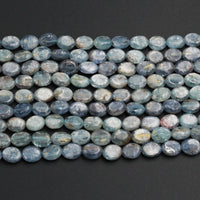 "Natural Blue Green Bicolor Kyanite 8mm x 10mm Oval Beads A Quality Chatoyant Silvery Teal Blue Gemstone 16"" Strand"