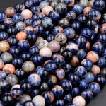 "Large Hole Beads Natural African Orange Sodalite 8mm Round Beads 10mm Round Beads Big 2.5mm Hole 8"" Strand"