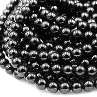 "Genuine Natural Black Tourmaline Beads 4mm 6mm 8mm 10mm 12mm Round Beads A+ High Quality Black Gemstone Full 16"" Strand"
