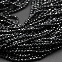 "AAA Genuine 100% Natural Black Spinel Micro Faceted Round Beads Tiny Small 2mm 3mm 4mm Faceted Round Beads Diamond Cut Gemstone 16"" Strand"