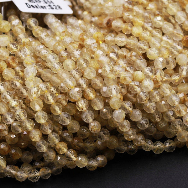"Micro Faceted A Grade Natural Golden Rutile Quartz  3mm 4mm 5mm Faceted Round Beads Golden Rutilated Quartz Round Beads Gemstone 16"" Strand"