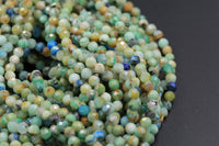"Micro Faceted Natural Green Chrysocolla Blue Azurite 4mm Faceted Round Beads Laser Diamond Cut Gemstone 16"" High Quality 16"" Strand"