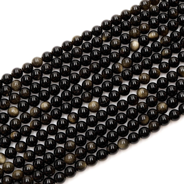 "Natural Golden Obsidian Beads 4mm 6mm 8mm 10mm AAA High Quality 16"" Strand"