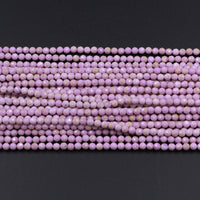 "Gorgeous Natural Phosphosiderite 2mm 3mm 4mm Round Beads Micro Faceted Gemstone Genuine Lilac Purple Stone  Beads 16"" Strand"