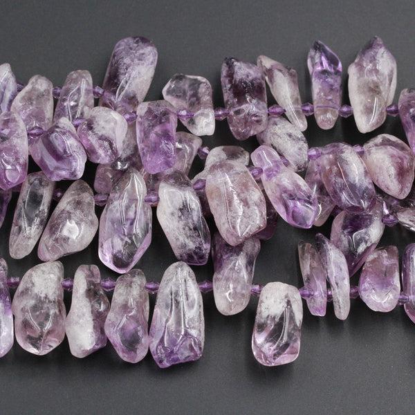 "Large Huge Chunky Natural Amethyst Freeform Raw Organic Drop Petal Nugget Beads Focal Pendant Bead Light Purple Gemstone 16"" Strand"