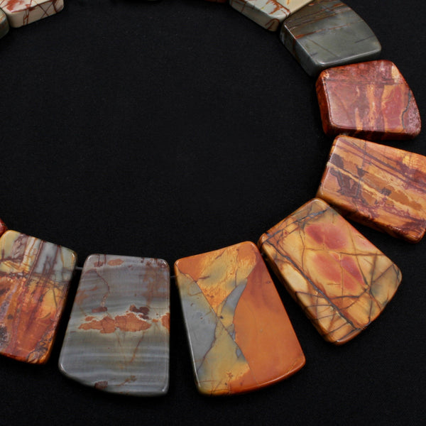 "Graduated Natural Red Creek Jasper Trapezoid Beads Earthy Red Green Yellow Brown Multicolor Picasso Jasper 16"" Necklace Strand"