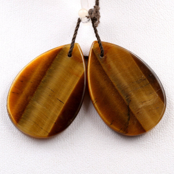 Drilled Gemstone Earring Pair Matched Flat Teardrop Pear Natural Golden Brown Tiger Eye Earring Bead Pair