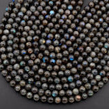 "Rare Natural Black Labradorite 8mm 9mm 10mm 11mm 12mm  Round Beads Blue Flashes 16"" Strand"