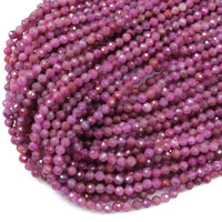 "A Grade Genuine Natural Ruby Faceted 4mm Round Beads Organic Natural Pink Red Ruby Gemstone Small Micro Faceted Real Ruby 16"" Strand"