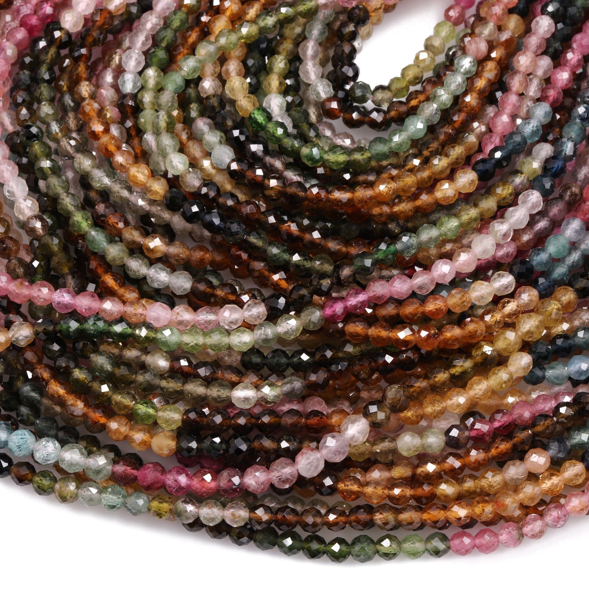 "Gorgeous AAA Micro Faceted Tiny Natural Multicolor Tourmaline 2mm 3mm Round Beads Real Genuine Pink Blue Yellow Green Tourmaline 16"" Strand"
