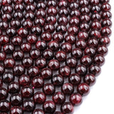 "Natural Red Garnet 4mm 6mm 8mm 10mm Round Beads Superior AA Grade 16"" Strand"
