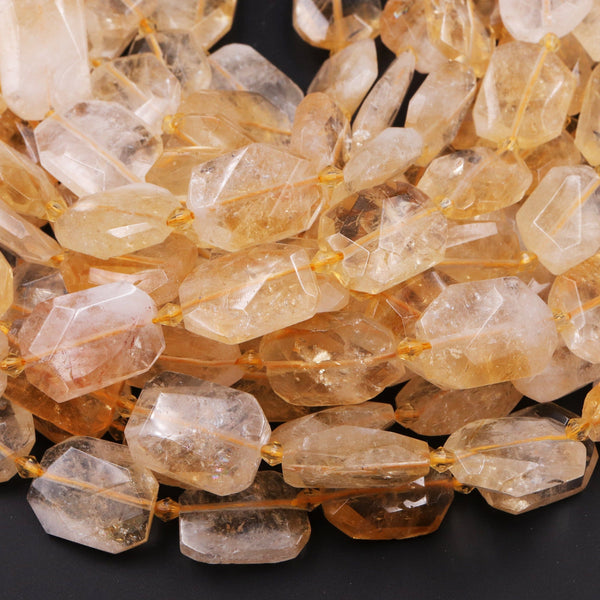 "Natural Golden Citrine Rectangle Beads Faceted Octagon Cushion Geometric Cut Large Flat Nugget Yellow Real Genuine Gemstone 16"" Strand"