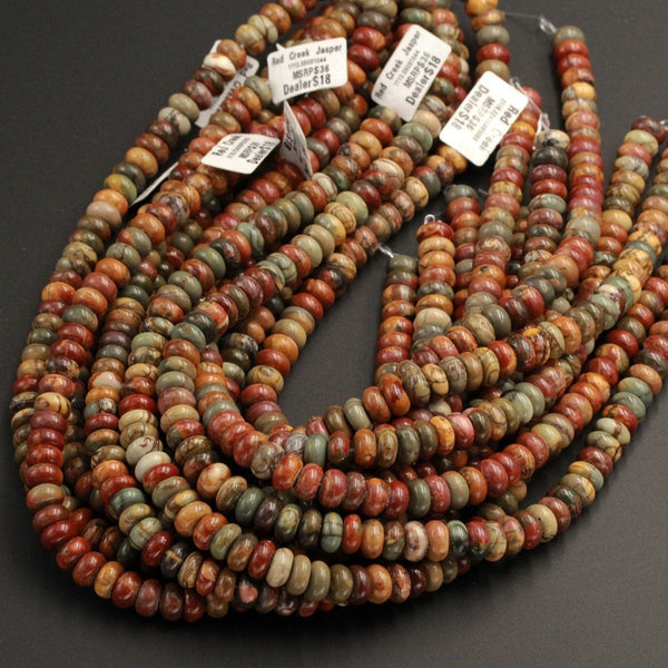 "Red Creek Jasper Rondelle Beads 6mm 8mm 10mm Red Green Yellow Brown Natural Cherry Creek Multi Color Multicolor Picasso Jasper 16"" Strand"