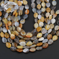 "Natural Teardrop Botswana Agate Beads Vertically Drilled Drop Gray Yellow Agate Beads Good For Earrings 16"" Strand"