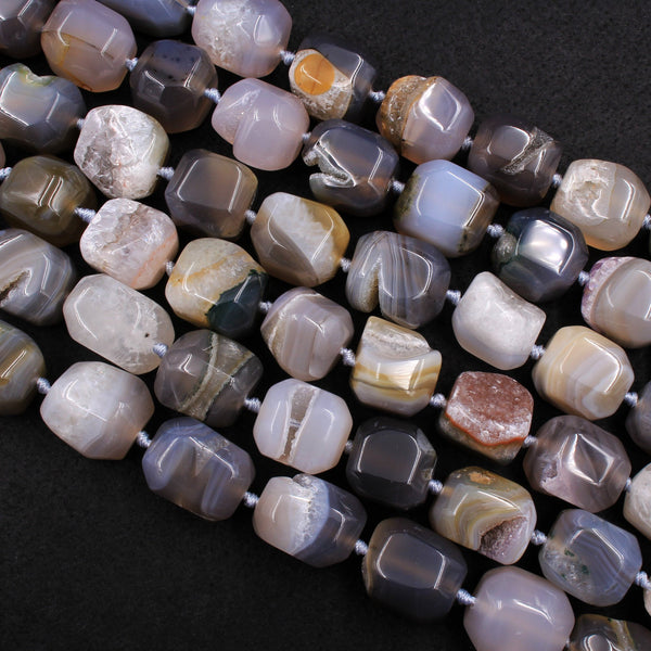 "Natural Agate Druzy Drusy Square Cube Beads Nuggets Large Faceted Chunky Organic Sparkling Natural Crystal Gemstone 16"" Strand"