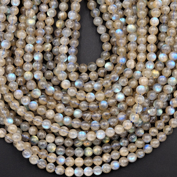 "Flashy Golden Blue Labradorite 6mm Round Beads High Quality A grade Natural Labradorite 16"" Strand"
