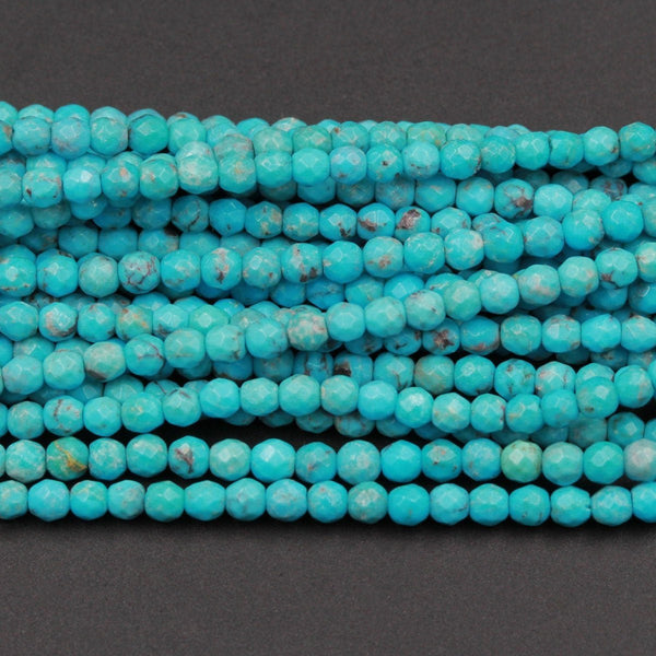 "AAA Natural Turquoise 3mm Faceted Round Beads Micro Faceted Diamond Cut Dazzling Facets Small Natural Blue Turquoise Gemstone 16"" Strand"