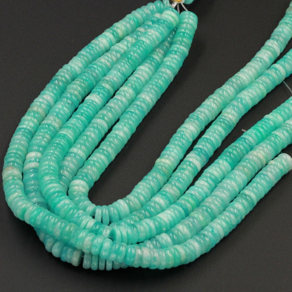 "Large Natural Peruvian Amazonite Heishi Rondelle Beads Superior A Grade Genuine Sea Blue Green Gemstone Center Drilled Disc 15"" Strand"
