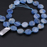 "Kyanite Coin Beads Raw Organic Natural Blue Kyanite Coin Beads Vertically Drilled Rough Cut Coin 16"" Strand"