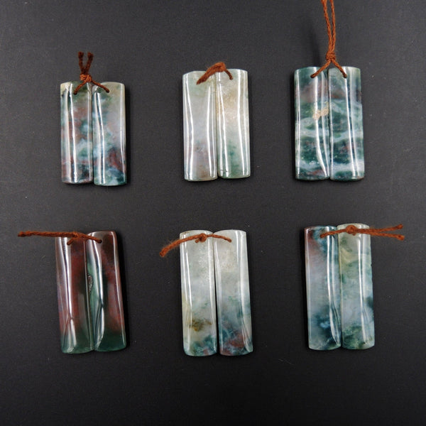 Sample Sale Natural Indian Agate Gemstone Drilled Earring Pair Cabochon Cab Pair Rectangle Matched Earrings Bead Pair E2838