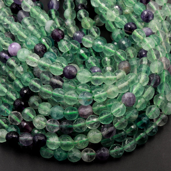 "Natural Fluorite Faceted 6mm 8mm Round Beads 16"" Strand"