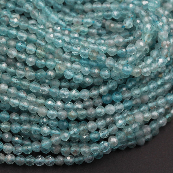 "Natural Apatite Beads Faceted Round Beads 3mm Small Micro Faceted Round Beads Translucent Teal Blue Gemstone Micro Cut 16"" Strand"
