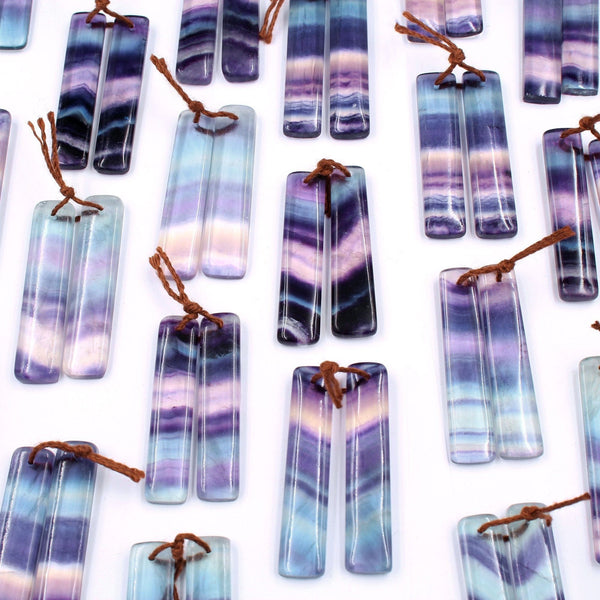 Natural Rainbow Green Purple Fluorite Earring Pair Rectangle Cabochon Cab Pair Drilled Matched Earrings Bead Pair Stone