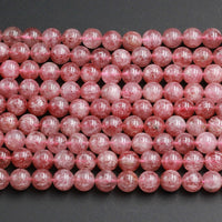 "AAA Natural Strawberry Quartz 6mm 8mm 10mm Round Beads Real Genuine Natural Pink Red Quartz Untreated Natural Real Gemstone Beads 16"" Strand"