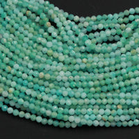 "Brazilian Amazonite Faceted Round Beads 2mm 3mm Micro Faceted  Stunning Natural Blue Green Laser Diamond Cut Gemstone 16"" Strand"