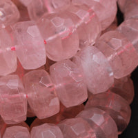 "Natural Pink Rose Quartz 14mm Large Faceted Rondelle Nugget Faceted Rondelle Beads Faceted Wheel Nugget Chunky Faceted Rondelle 16"" Strand"