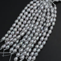 "Large Hole Pearls Beads Silver Genuine Freshwater Pearl 12mm Large Potato Oval Rice Pearl Shimmery Gray Silver Big 2.5mm Hole 8"" Strand"