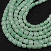 "Natural Green Aventurine Beads Thick Puffy Square Cushion 8mm Natural Green Gemstone 16"" Strand"