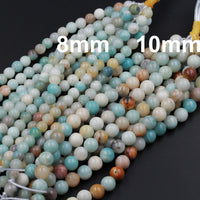"Large Hole Beads Natural Multicolor Amazonite 8mm Round Beads 10mm Round Beads Big 2.5mm Hole 8"" Strand"
