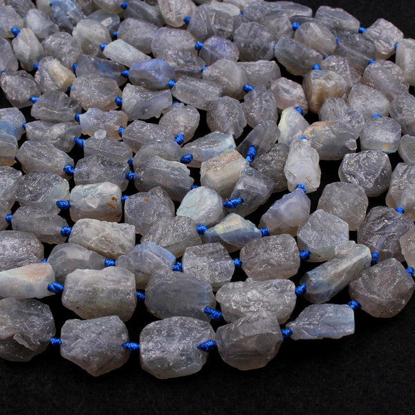 "New Organic Cut Matte Rough Raw Unpolished Natural Labradorite Nugget Beads 16"" Strand"