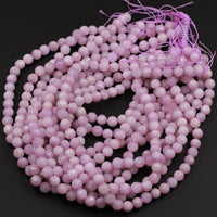 "AAA Micro Faceted Natural Kunzite Beads 8mm 10mm Faceted Violet Purple Pink Round Laser Diamond Cut Gemstone 16"" Strand"