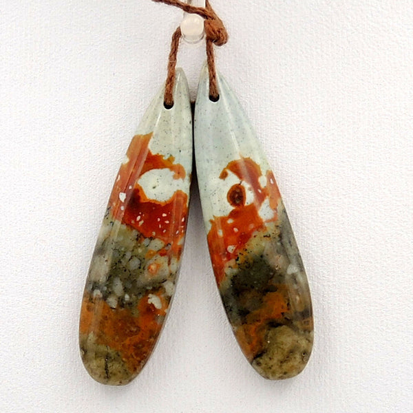 Drilled Natural Owyhee Picture Jasper Earring Pair Gemstone Drilled Earring Cabochon Cab Pair Teardrop Matched Earring Bead Pair From Oregon
