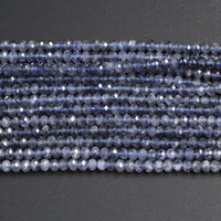 "AAA Grade Natural Blue Iolite 4mm 5mm Faceted Rondelle Genuine Real Iolite Micro Faceted Gemstone Laser Diamond Cut Beads 16"" Strand"