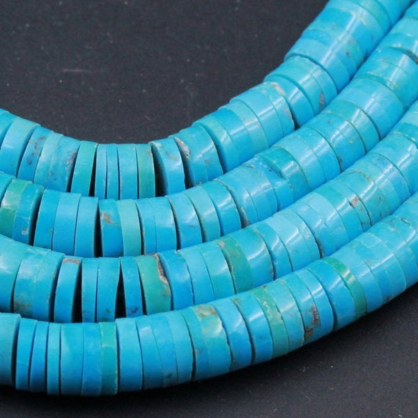 "Genuine 100% Natural Arizona Turquoise Heishi Beads 6mm 8mm Thin Rondelle Genuine Bright Blue Turquoise Beads Center Drilled Full 16"" Strand"
