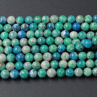 "Genuine Natural Chrysocolla Beads 4mm 5mm 6mm 8mm Round Beads Real Natural Blue Green Chrysocolla In White Quartz Matrix Gemstone 16"" Strand"