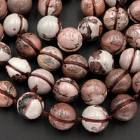 "Carved Picture Jasper Beads 12mm Etched Lines Natural Multi-color Artistic Stone 16"" Strand"