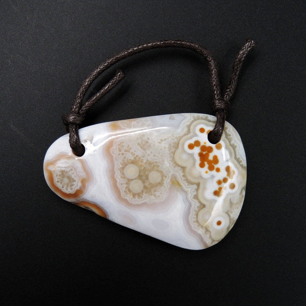 Natural Ocean Jasper Pendant Orange Pink Green White Two Hole Drilled Freeform Pendant P1185