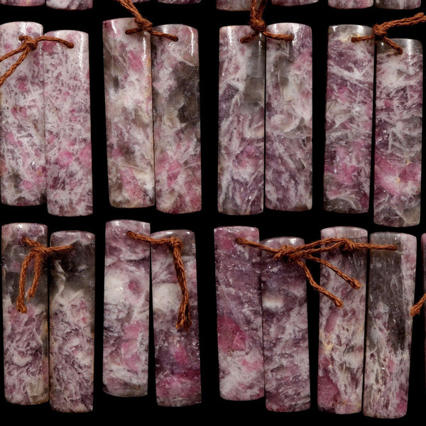 Natural Pink Tourmaline in Quartz Rectangle Cabochon Cab Pair Drilled Matched Earring Pair